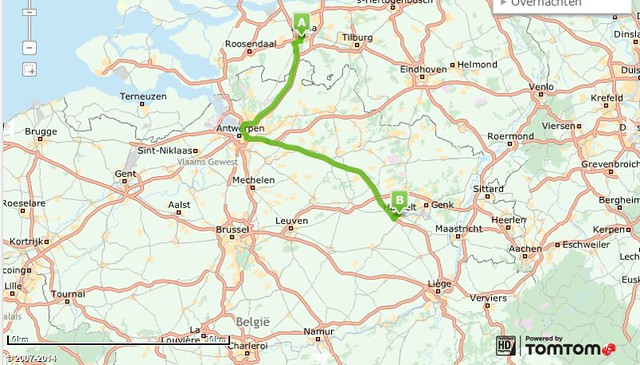Route van Breda naar Hasselt