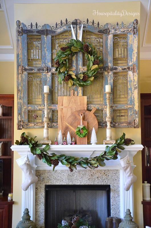Christmas Mantel 2016 - Magnolia Wreath - Magnolia Garland - Breadboards - Housepitality Designs