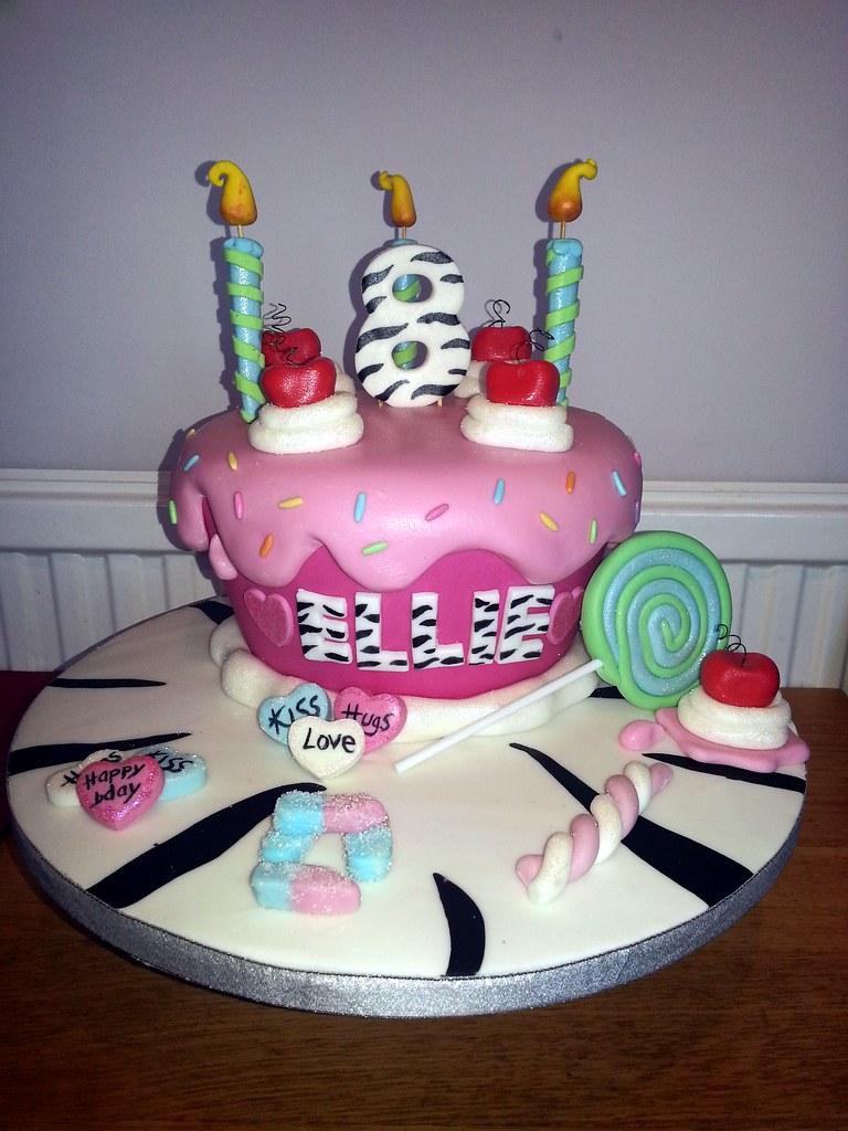 girls 8th birthday cake with zebra stripes and pink drippi ... (768 x 1024 Pixel)