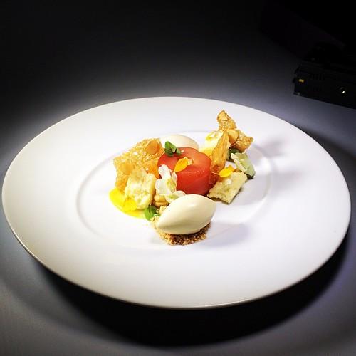 ... Cream, Almond Lace Tuile, Pear Sorbet | by Pastry Chef Antonio Bachour