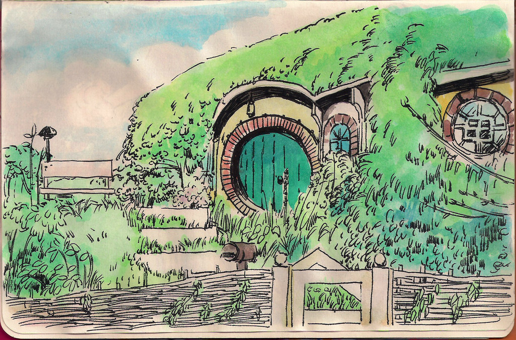 Hobbit hole drawing for Hobbit house drawings