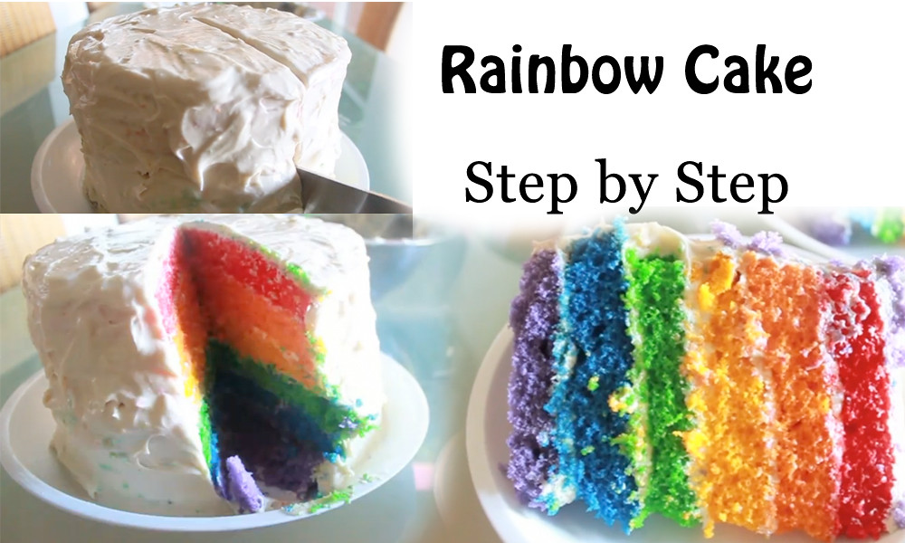Cake Images Step By Step : Rainbow Layer Cake Step by Step www.bestyummyrecipes.com ...