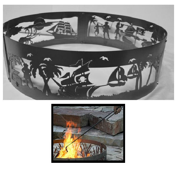 QBC Bundled PD Metals Steel Campfire Ring Pirates Life Design - Unpainted - with Fire Poker - Extra Large 60 d x 12 h - Plus Free QBC Campfire Ring Guide