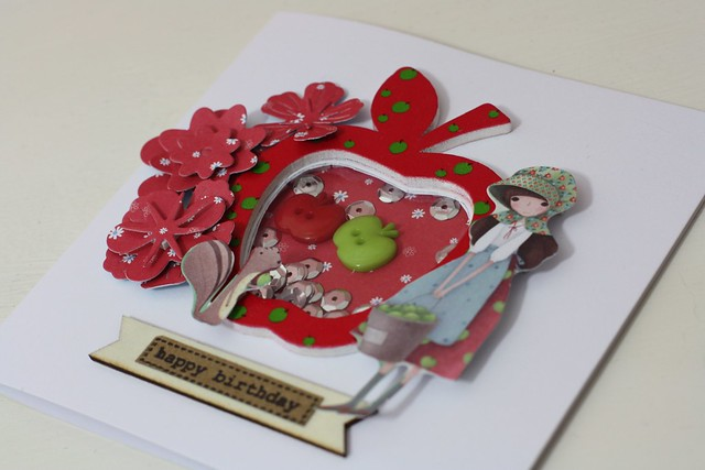 Apple shaker card using Santoro Kori Kumi range from Craft Consortium