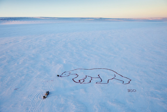 Photo of Polar Bear Painted on Glacier