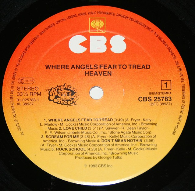"HEAVEN WHERE ANGELS FEAR TO TREAD 12"" LP"