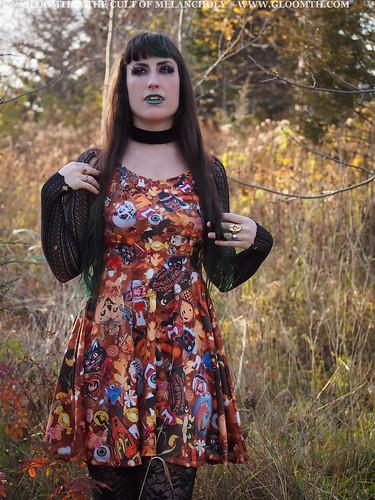 vintage halloween print skater dress