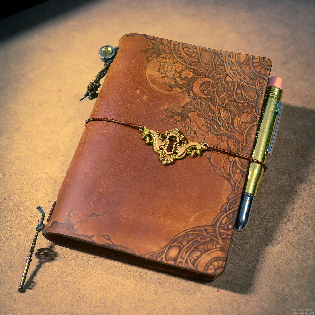 Vintage Book Cover Photo Tutorial : Midori traveler s notebook customize pyrography on