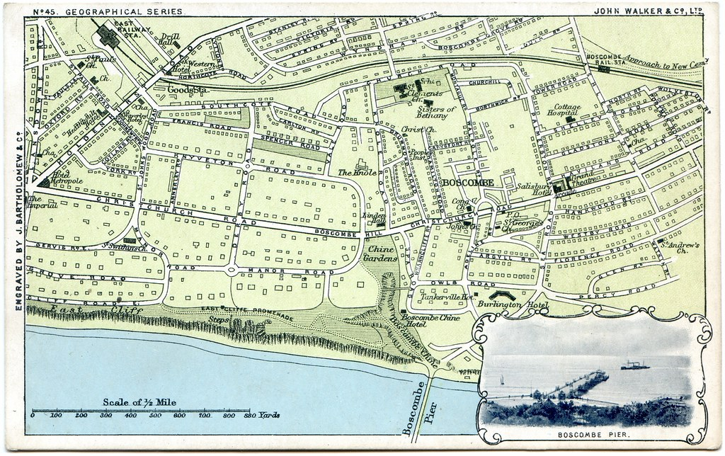 Map Of Boscombe With Inset Of Boscombe Pier Boscombe Bou