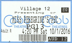 Miss Peregrine's Home for Peculiar Children ticketstub
