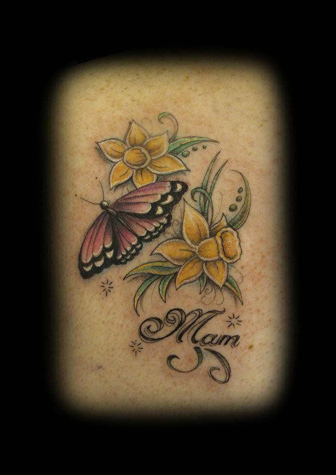 butterfly and daffodil tattoo by ray tutty tattoo studio flickr. Black Bedroom Furniture Sets. Home Design Ideas