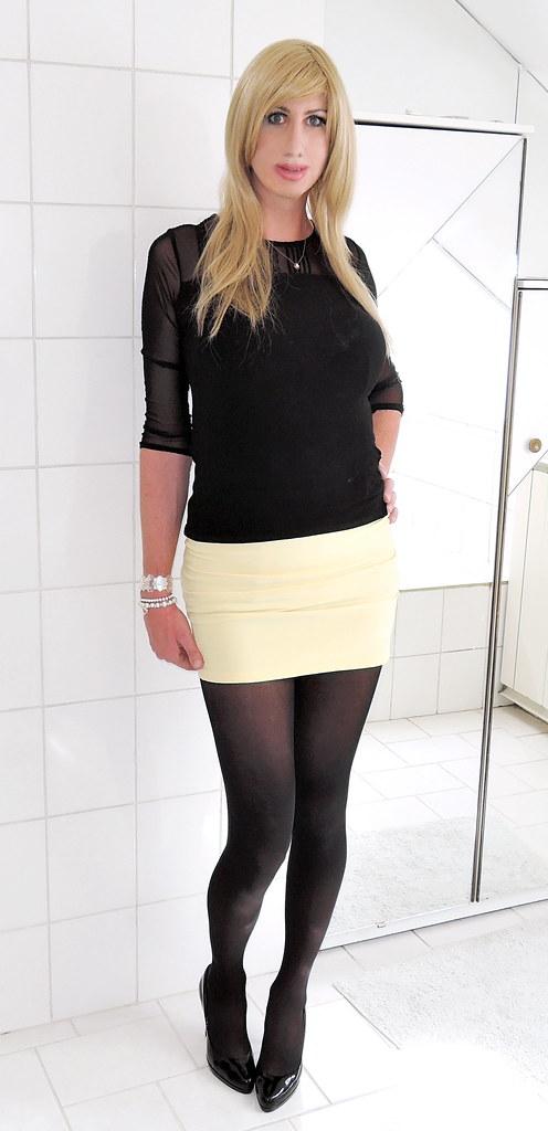 Transparent Black Top, Yellow Mini Skirt, Black Tights, Bl -6332
