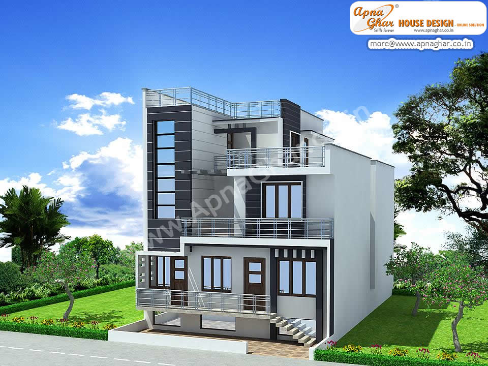 Triplex house exterior elevation triplex house exterior for Normal house front design