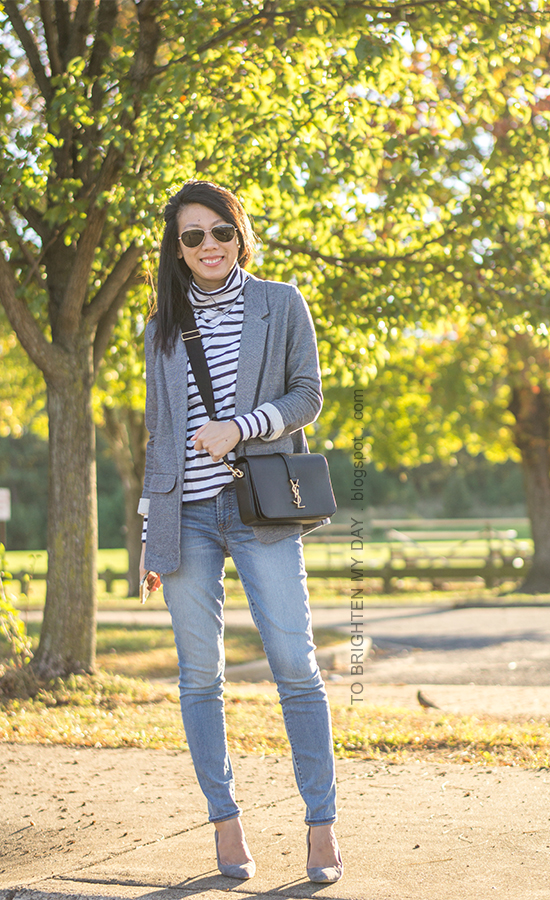 striped turteneck, gray boyfriend blazer, lightwash skinny jeans, black crossbody bag, gray suede pumps