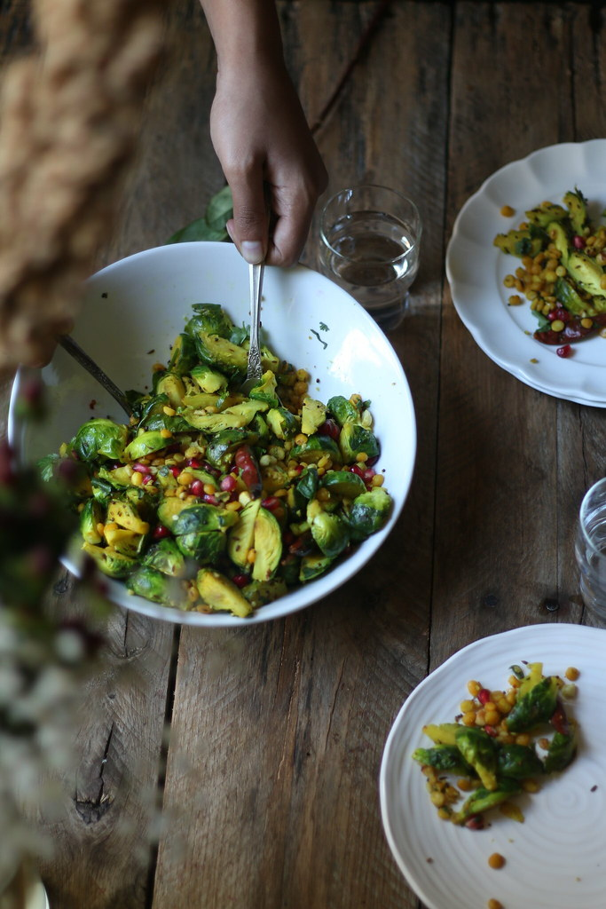 Curried Crisp Pan roasted Brussels sprouts with pomegranate and peanuts- South Indian Style |foodfashionparty|