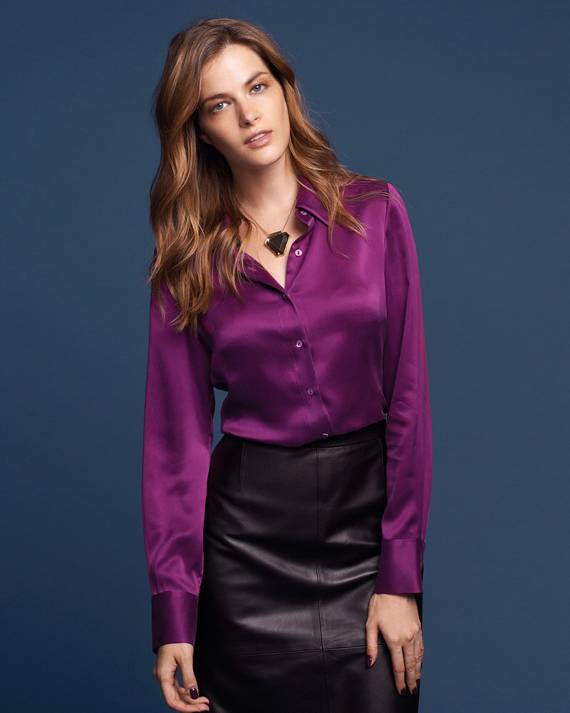 Purple satin button up shirt & black leather skirt | Flickr