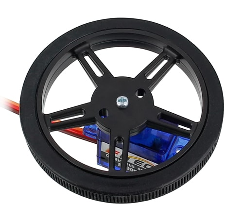 Wheel on FS90R Servo Side View