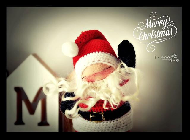 Titi Santa, Christmas Special, Natural Fiber Doll by LesPouPZ Handmade Dolls
