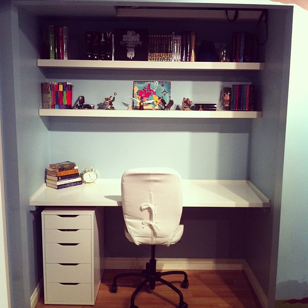 boys room closet customized into a study writing zone wit