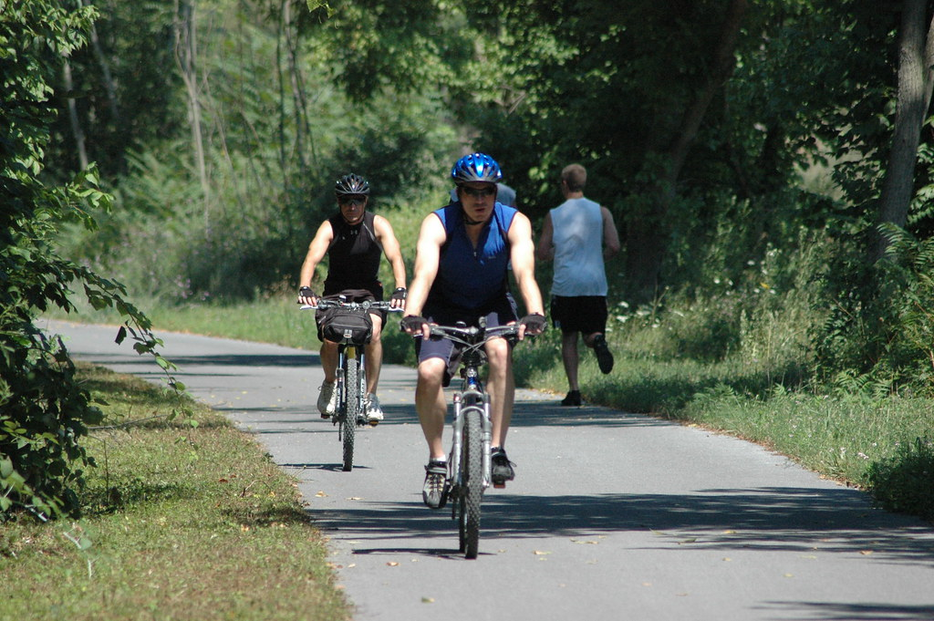 Photo of bikers enjoying the Western Maryland Rail Trail