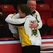 Manitoba skip Braden Calvert gets a hug from his father Grant Calvert after winning the men's final.