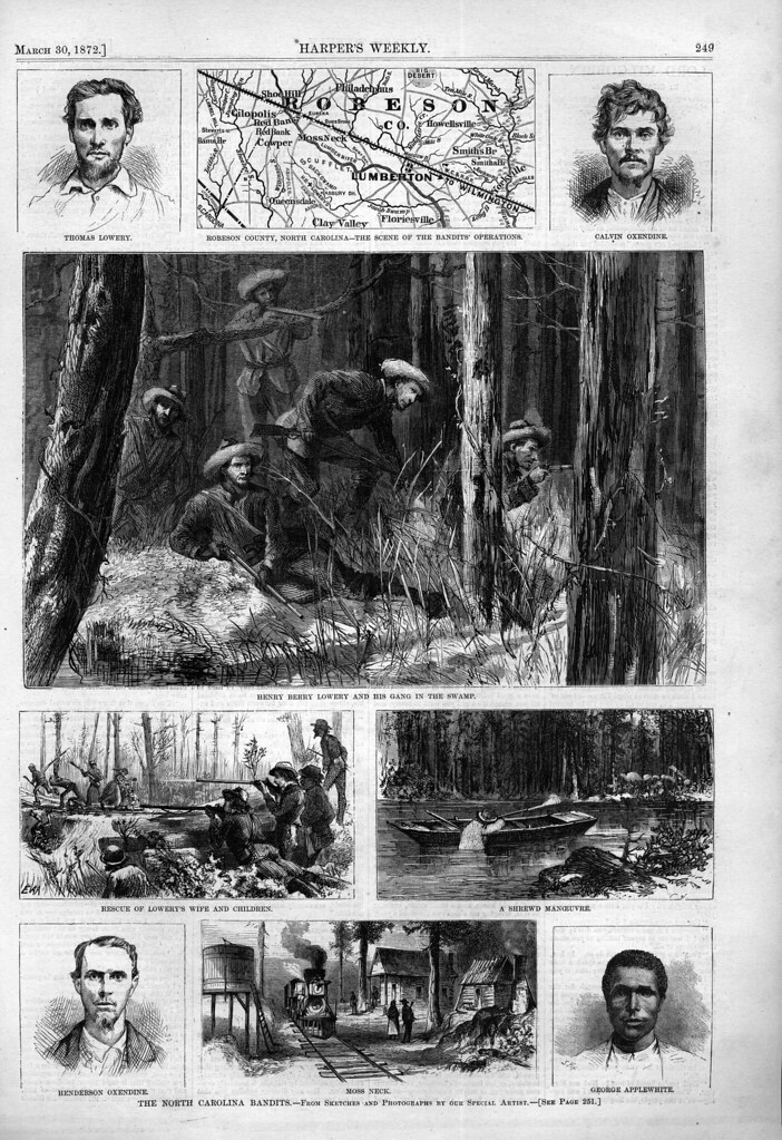 "Drawings in an 1872 issue of Harper's Weekly illustrating the ""Lowrie War"""