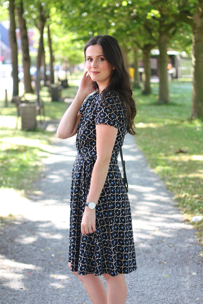 business casual outfit: wrap dress