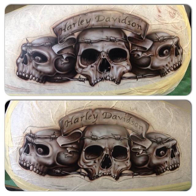 Harley Completed Tank Mural Airbrush Airbrushing Harl