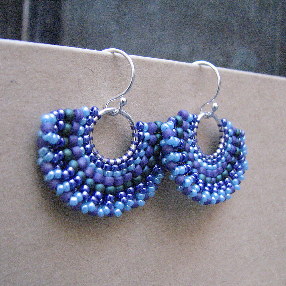 Small Blue Earrings: Blue Beaded Silver Hoops, Small Earrings On Sterling Wires