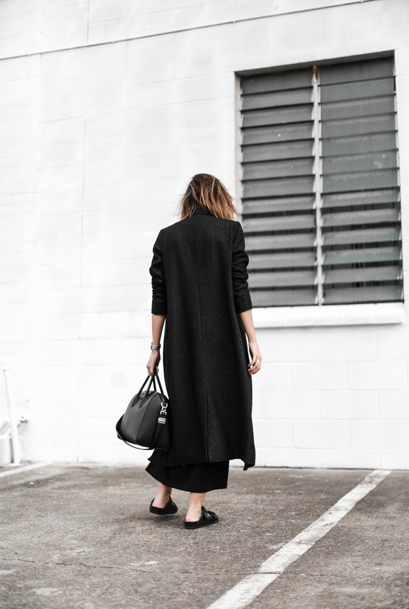 modern legacy, fashion blog, street style, all black, off duty, Birkenstocks, C&M Manhattan coat, Givenchy Antigona medium, editorial (1 of 1)