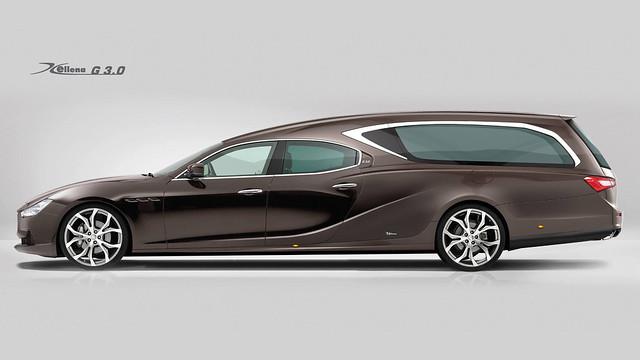 The Ellena Maserati G3.0. Coach built Hearse by Ellena Funeral Car.  http://www.ellenafuneralcar.com/