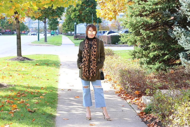 olive-green-coat-kick-flare-jeans-leopard-scarf-1