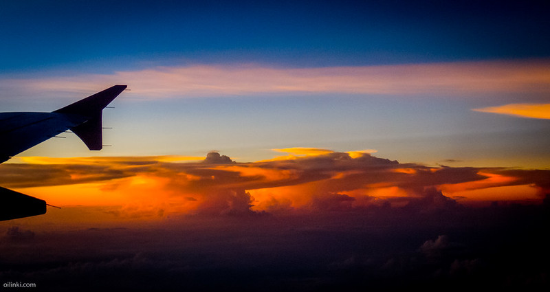 Sunset from airplane, Phuket, Thailand