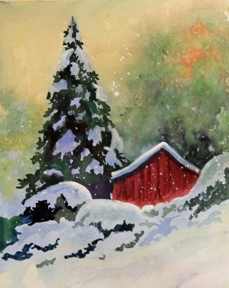 2014 01 01 painting from my lesson on debwatson Christmas card scenes to paint
