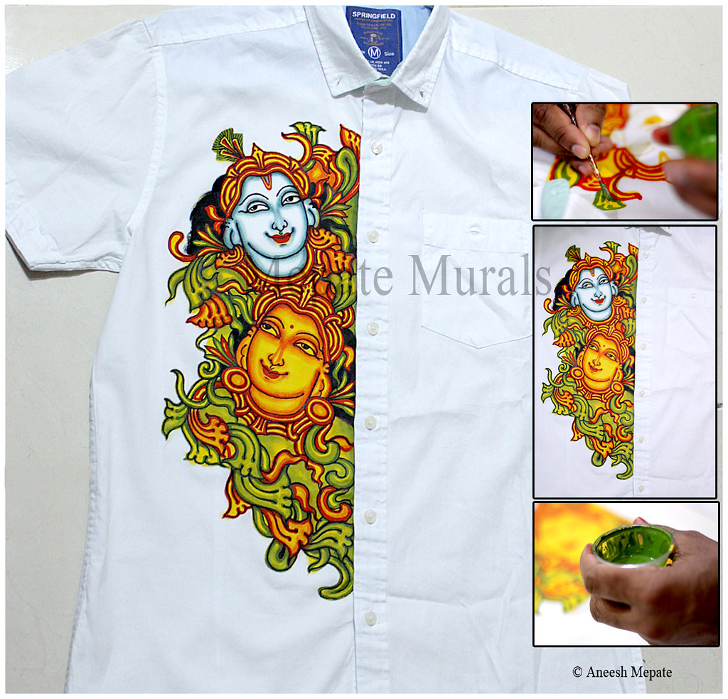 Mural style painting on fabric shirt aneesh mepate flickr for A mural is painted on a