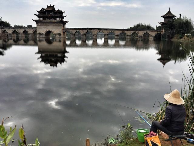 Puente de los dos dragones cerca de Jianshui en Yunnan (China)