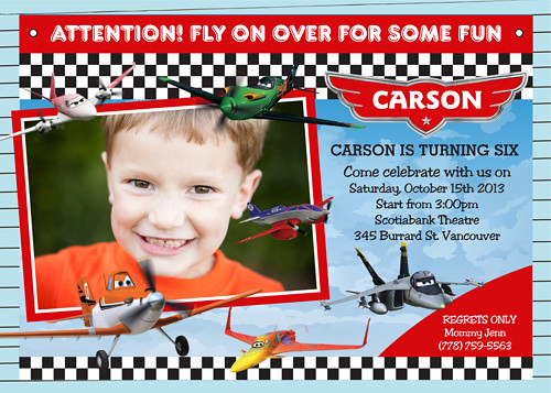 Disney Planes Dusty Crophopper Custom Birthday Invite