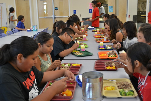 Students at Loneman Day School on Pine Ridge Reservation (S.D.) enjoy buffalo gravy over rice.