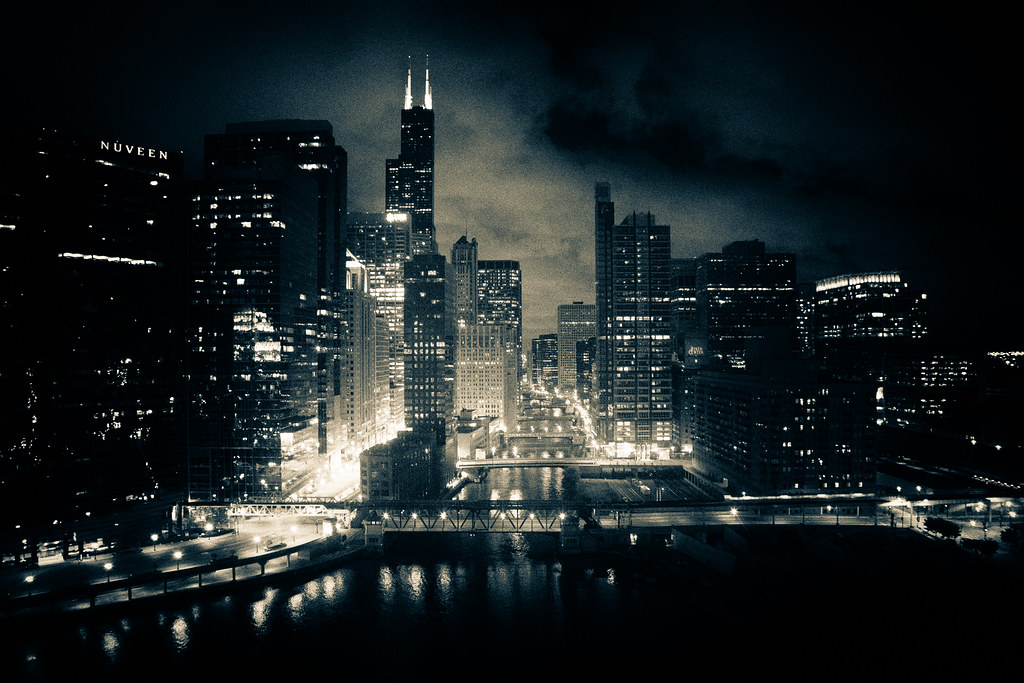 Chicago At Night Wallpaper: Chicago River At Night