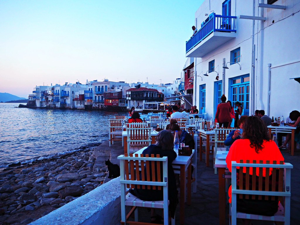 Little venice mykonos at night