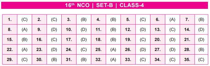 NCO Answer Key Set B Class 4