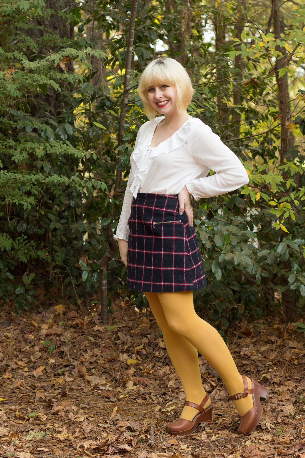 White Ruffled and Lace Up Shirt Plaid Mini Skirt Yellow Tights Clogs