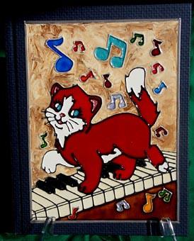 Cahier faux vitrail chat sur piano le raton bricoleur for Faux vitrail sur miroir