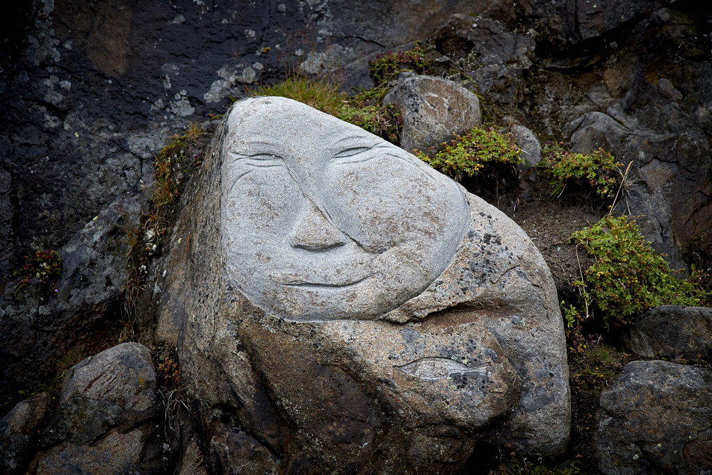 Stone and man carvings in qaqortoq photo by mads