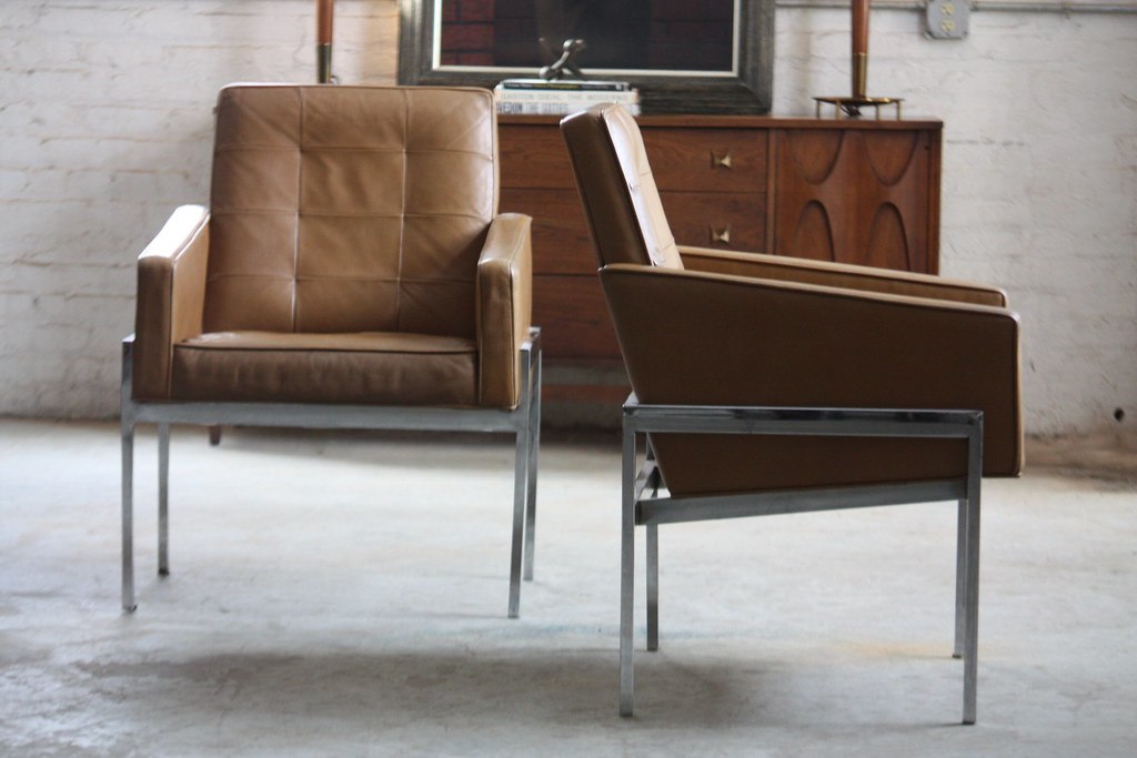Savage Mid Century Modern Leather U0026 Chrome Lounge Arm Chaiu2026 | Flickr
