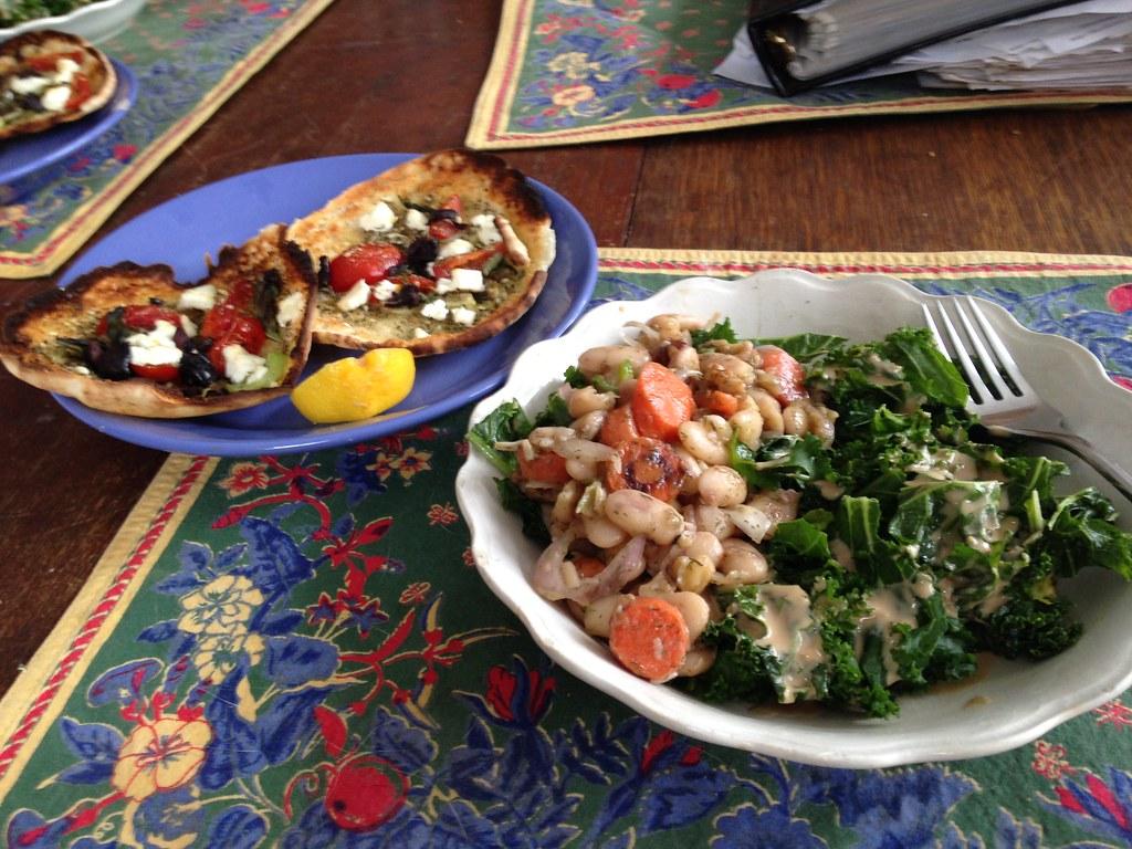 Saturday Lunch | Rubbed kale salad with tahini garlic dressi ...