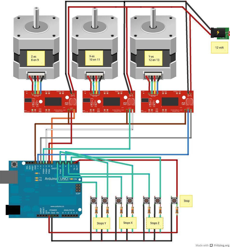 Cnc bb fritzing afbeelding het schema van de