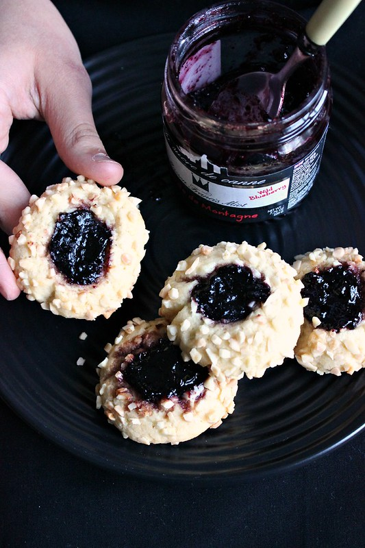 Blueberry Jam Almond Thumbprint Cookies