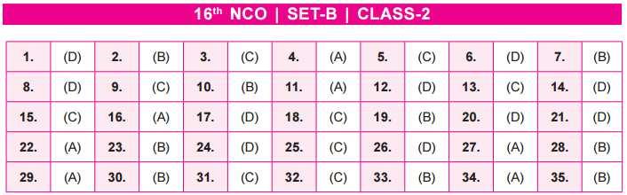 NCO Answer Key Set B Class 2