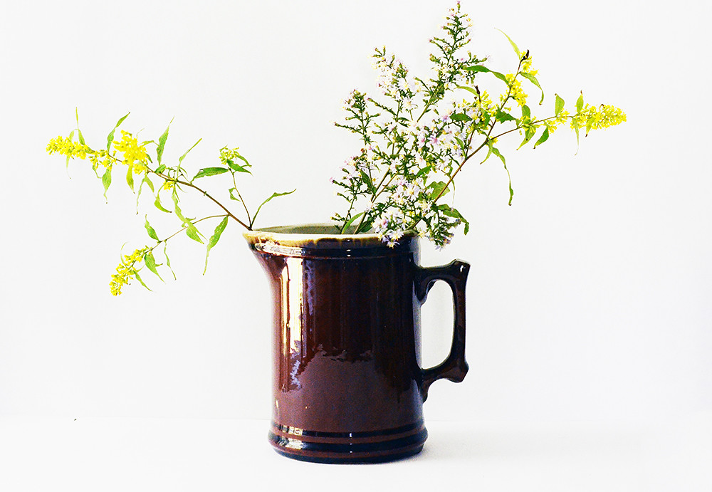 Vintage Brown Ceramic Pitcher